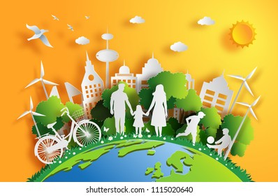 Paper art style of landscape in the city with sunset, family enjoy fresh air in the park, flat-style vector illustration.