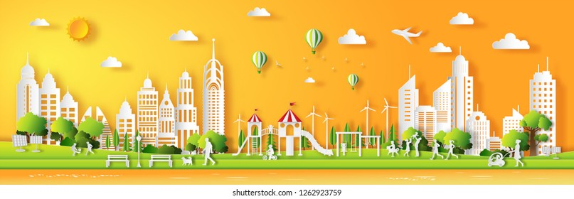 Paper art style of landscape in the city with sunset on summer, happy children playing in playground, people enjoy fresh air in the park, flat-style vector illustration.