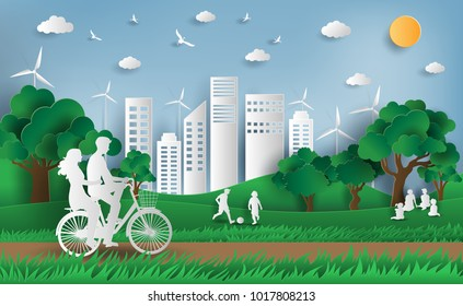 Paper art style of landscape with eco green city, people enjoy fresh air in the park, save the planet and energy concept, flat-style vector illustration.