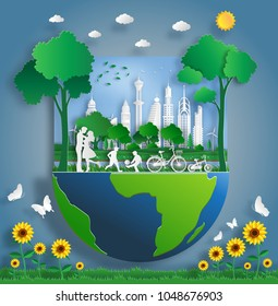 Paper art style of landscape with eco green city, family enjoy fresh air in the park, save the planet and energy concept, flat-style vector illustration.