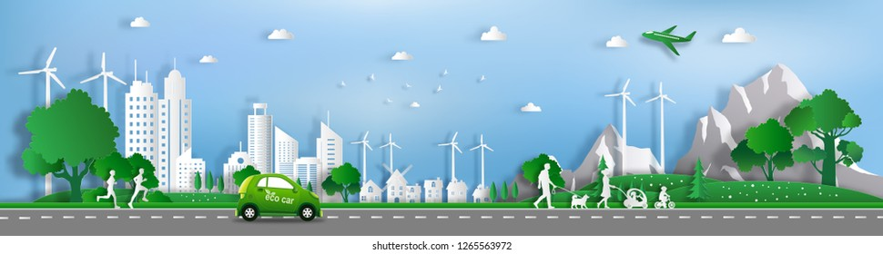 Paper art style of landscape with eco car and green city, people enjoy activities outdoor, save the planet and energy concept, flat-style vector illustration.