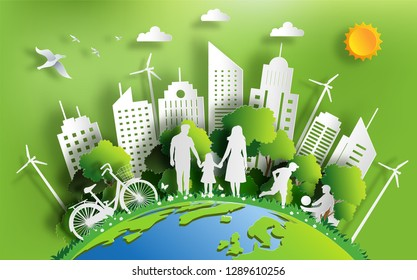 Paper art style of landscape with eco green city, family enjoy fresh air in the park, paper cut and craft style, flat-style vector illustration.