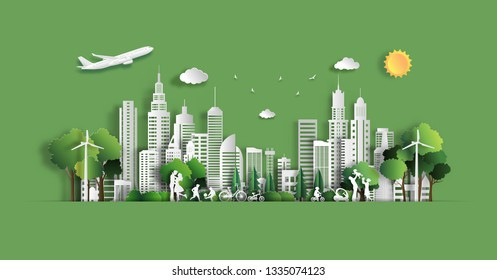 Paper art style of landscape with eco green city, people enjoy activities outdoor, save the planet and energy concept, paper cut and craft style, flat-style vector illustration.