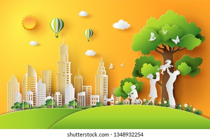 Paper art style of landscape with eco green city, sunset on summer, family enjoy activities outdoor, save the planet and energy concept.