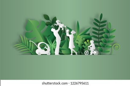 Paper art style of landscape with family enjoy fresh air in the park, save the planet and energy concept, beautiful green leaves background, flat-style vector illustration.