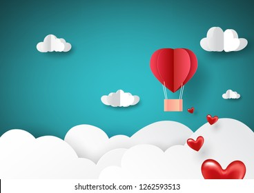 Paper art style of love concept greeting card with red hot air balloon flying on sky.Vector illustration.