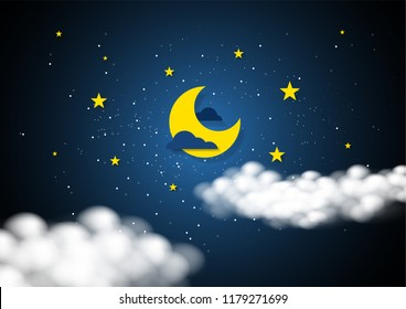 Paper art style of moon and stars in midnight concept. Business flat design vector illustration