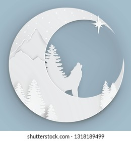 Paper art style - the moon, a wolf howls at the moon, stars, mountains, woods, conifers. Blue background. Paper cut style. White paper. Vector illustration.