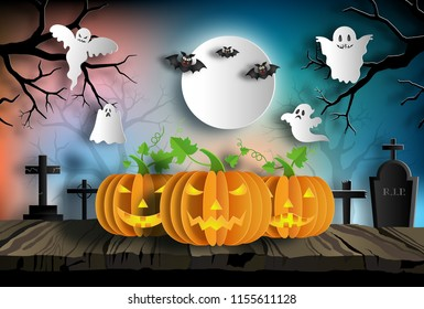 Paper art style of pumpkins on wood at night with ghost and bats on background, Halloween concept.