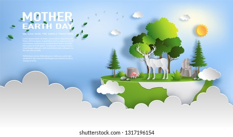 Paper art style of a reindeer standing in a forest with many trees, world environment and earth day concept, flat-style vector illustration.