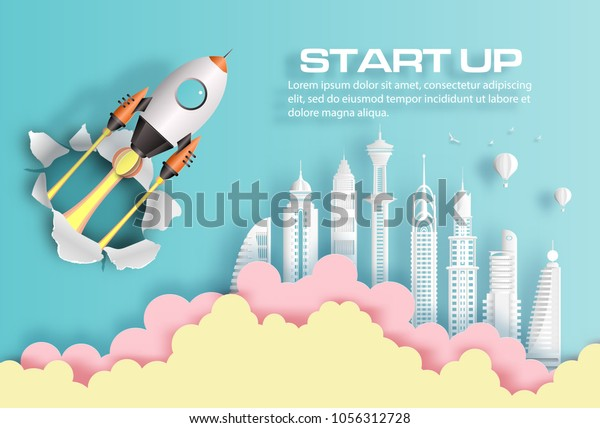 Paper art style of rocket breaking through paper over modern city, start up business concept, flat-style vector illustration.