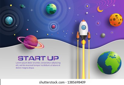 Paper art style of rocket flying in space, start up concept, design banner template, flat-style vector illustration.