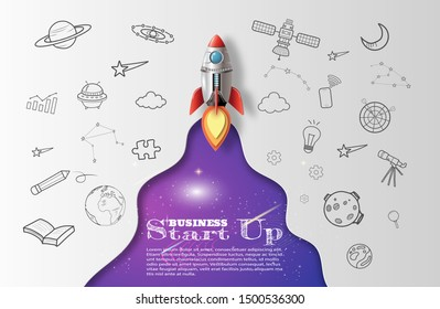 Paper art style of rocket flying in space, start up doodles, business concept, flat-style vector illustration.