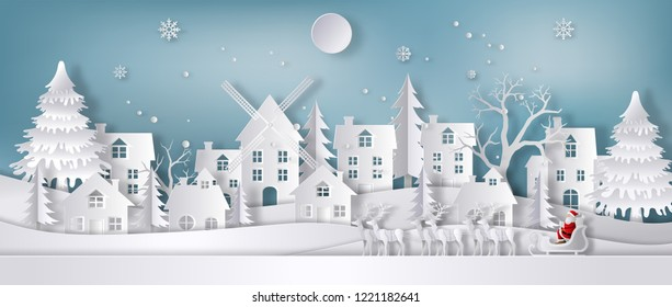 Paper art style of Santa Claus with reindeer sleigh in the city during Christmas, flat-style vector illustration. Merry Christmas and Happy New Year concept.