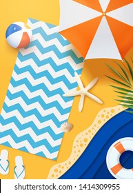 Paper art summer beach top view scene in 3d illustration