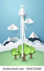Paper art of tap with flowing water, world sustainable environment friendly idea, vector art and illustration.
