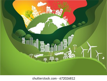 Paper art ,The Global ,windmill and solar panels on the grass ,Environmentally friendly world. Vector illustration of ecology,concept protect the environment and The earth