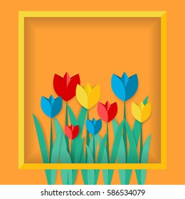 Paper art tulips Multicolored paper tulips in a yellow frame on an orange background Paper art style
