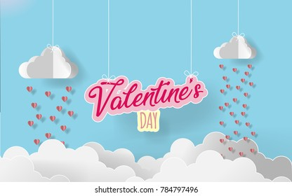 Paper art valentine's day. rain heart with white origami cloudsin candy color background.vector illustraion