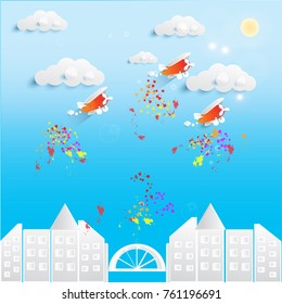 paper art vector of city and cute old airplane with cloudscape in blue sky under sun light. dripping paint like light of bomb in the war or blots color of firework illustration concept.