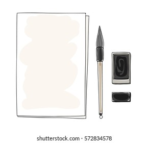 paper art and vintage chinese brush pen with Black ink vector hand drawn  art illustration