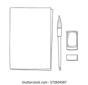 paper art and vintage chinese brush pen with Black ink vector hand drawn line  art illustration