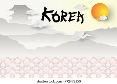 Paper art of  Welcome to South Korea's travel and landmark ,Beautiful of Korea background.vector illustration