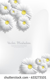 Paper art white flowers background banner template with yellow stamen - vector illustration
