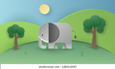 Paper art of wild elephant in the forest. Digital craft and papercraft concept. Wallpaper and background theme.