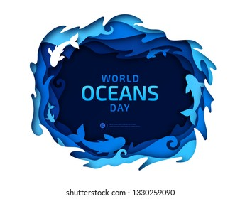 Paper art of World Oceans Day. Global celebration dedicated to help protect and conserve world oceans, water, underwater world, ecosystem, ecology. Poster with blue origami of sea waves and fishes