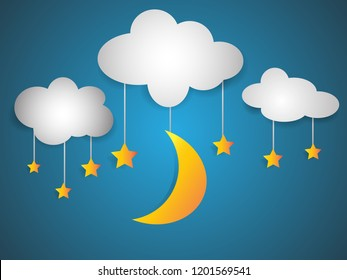 Paper arts of goodnight, night and sweet dream. moon and star vector