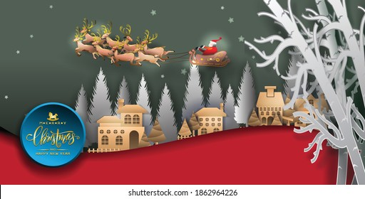 paper arts Merry Christmas .graphic background .paper cut art style Vector EPS 10 3d