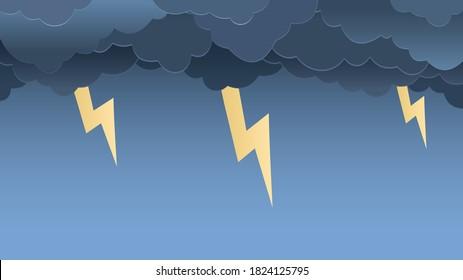 paper autumn dark blue sky with lightning