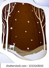 Paper autumn forest  landscape with young deer, paper october fairy tale background with bambi, vector