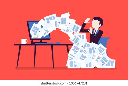 Paper avalanche for businessman. Male office worker overloaded with paperwork from computer, heap of business letters and online documents, busy clerk. Vector illustration, faceless characters