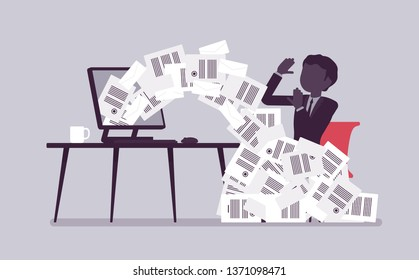 Paper avalanche for businessman. Male office worker overloaded with paperwork from computer, heap of business letters and online documents, busy clerk. Vector illustration with faceless characters