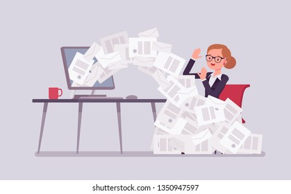 Paper avalanche for businesswoman. Female office worker overloaded with paperwork from computer, heap of business letters and online documents, busy clerk in routine, bureaucracy. Vector illustration