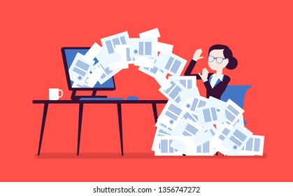 Paper avalanche for businesswoman. Female office worker overloaded with paperwork from computer, heap of business letters and online documents, busy clerk. Vector illustration, faceless characters