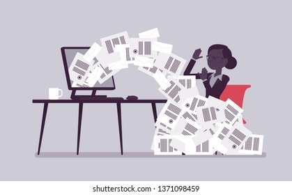 Paper avalanche for businesswoman. Female office worker overloaded with paperwork from computer, heap of business letters and online documents, busy clerk. Vector illustration with faceless characters