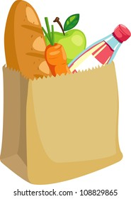 paper bag with bread and apple and carrot vector illustration