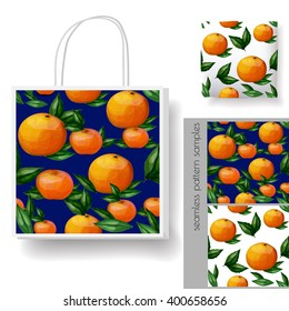 Paper bag design. Pillow (cushion) cover design. Orange fruits seamless pattern vector sample.