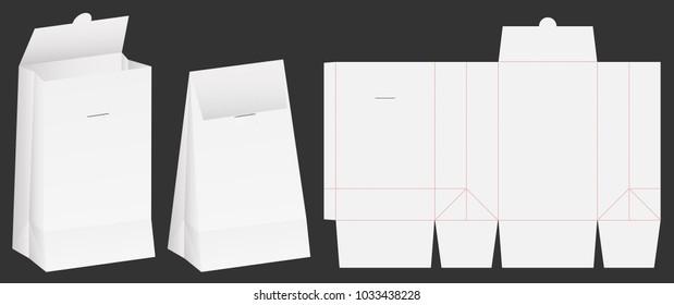 paper bag die cut mock up template vector