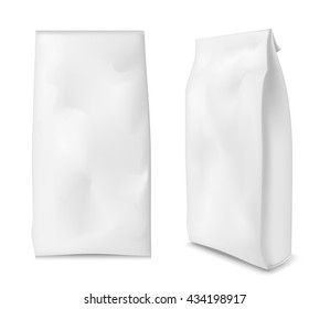 Paper bag for flour, tea, coffee, pasta. Vector white soft packing.