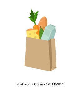 Paper bag with food items on a white background. Healthy food. Vector illustration.