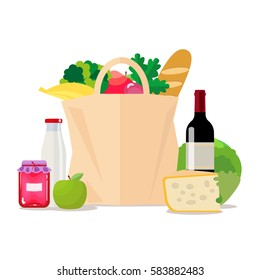 Paper bag with food. Shopping at the supermarket or grocery store. A set of healthy food. Vegetables and fruits, wine and cheese, milk and jam. Vector, isolated illustration in flat style EPS10.