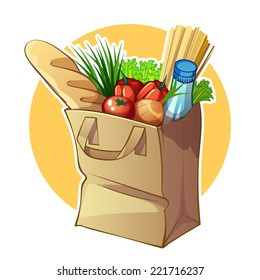 Paper bag with food. Vector clip-art illustration on a white background.