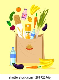 Paper bag with food. Vector flat illustration