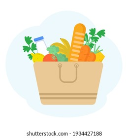 Paper bag with food. Vegetables, bread, dairy products, milk and cheese. Grocery delivery concept. Flat vector illustration.