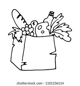 Paper bag with foods. Grocery delivery concept. Doodle cartoon style. Vector illustration.