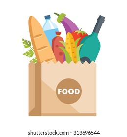 Paper bag full of food. Grocery delivery concept. Modern flat design concepts for web banners, web sites, printed materials, infographics. Colorful vector illustration
